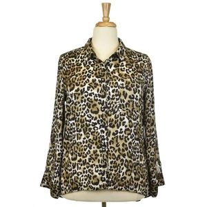 Xhilaration Leopard Print Button Down Shirt